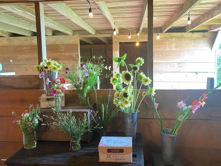 Poole Family Farm Pick Your Own Flower Table in Barn