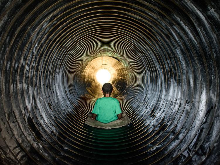 Slide down the large tube slide at Sonlight Farms, Kenly NC.