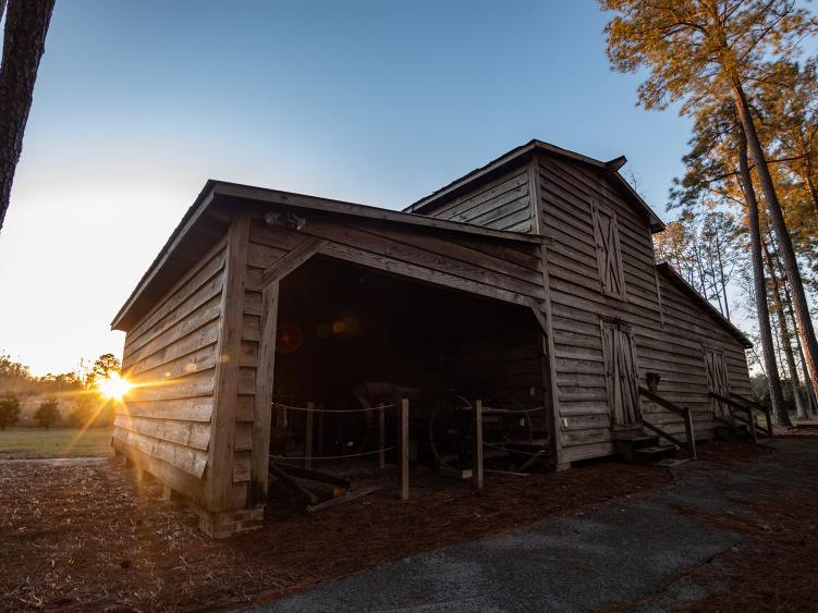 The exterior of the pack house at the Tobacco Farm Life Museum in Kenly, NC.