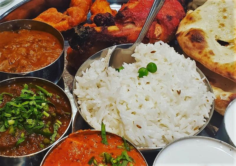 Many dishes from Indian Garden