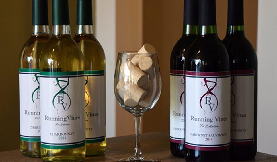Running Vines Chesterton wine bottles