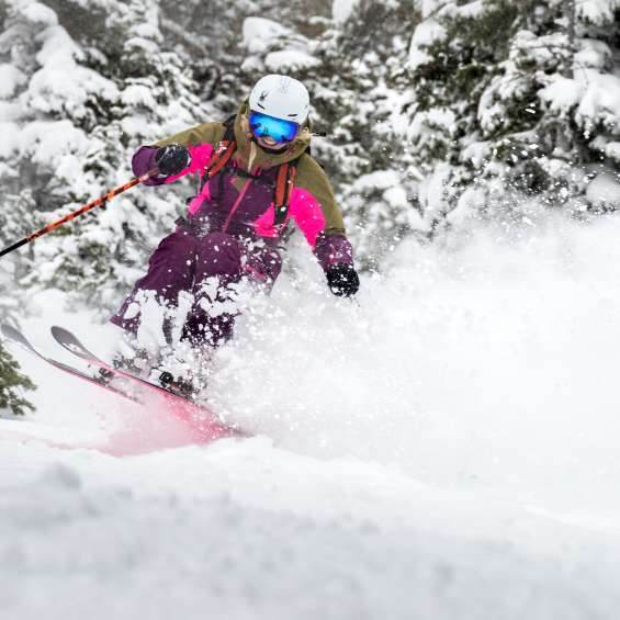 Amie Engerbretson skiing at Snowbird on a powder day