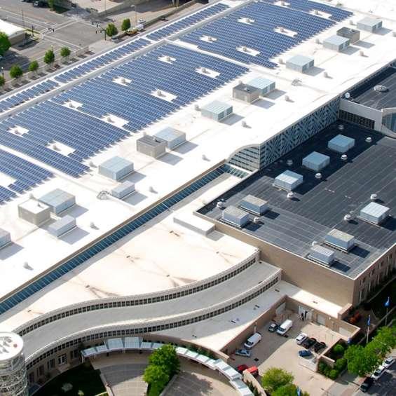 Salt Palace Convention Center Rooftop Solar Panel Array