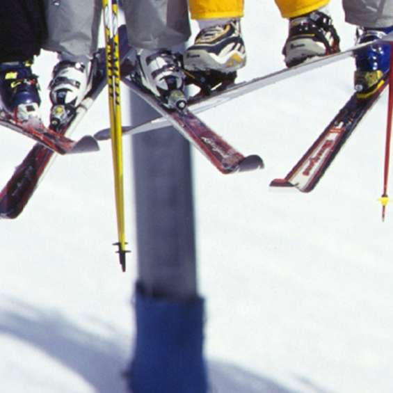 Skis on a chairlift