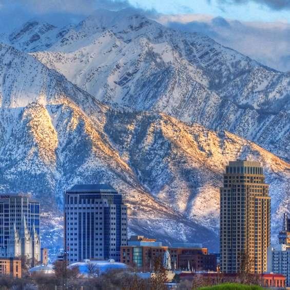Downtown Salt Lake Skyline in Winter