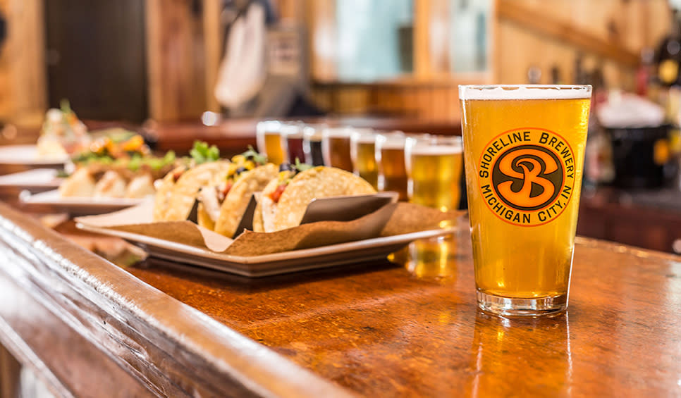Shoreline Brewery beer and tacos