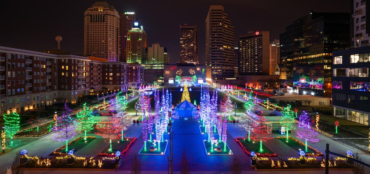 View Of Holiday Lights at Columbus Commons