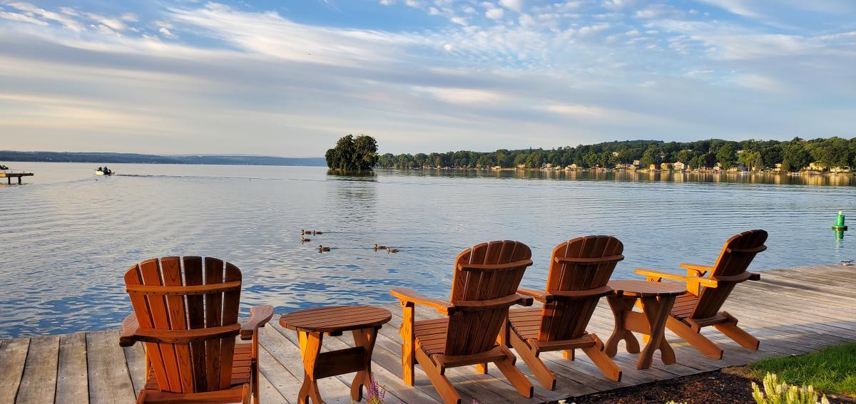 Adirondack chairs overlooking Canandaigua Lake at the The Lake House on Canandaigua