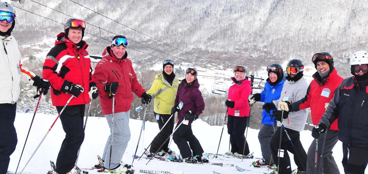 A group skiing at Bristol Mountain