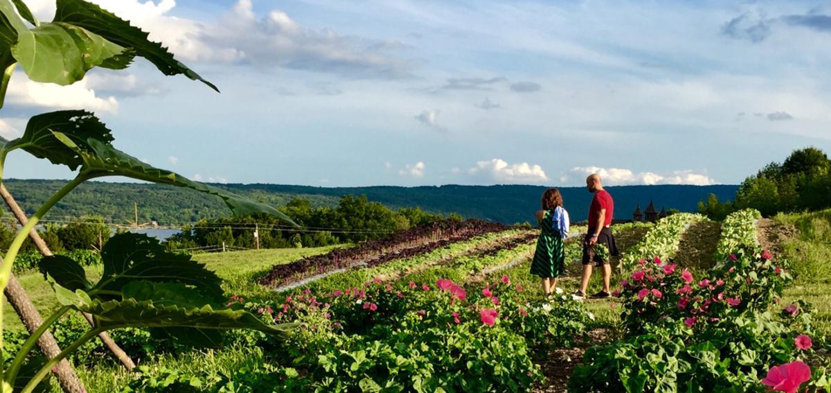 A couple walking the farm