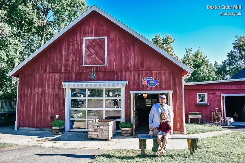 Father and daughter at Dexter Cider Mill