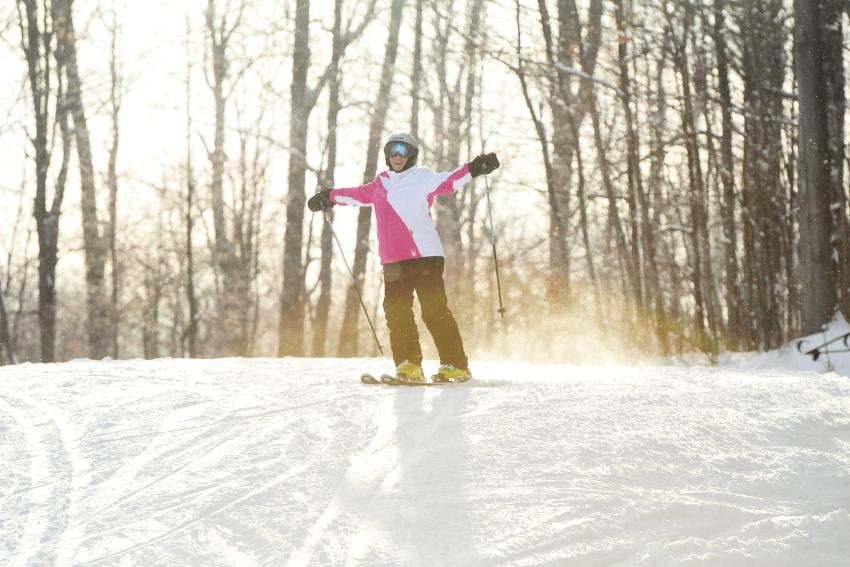 A downhill skier at Bristol Mountain