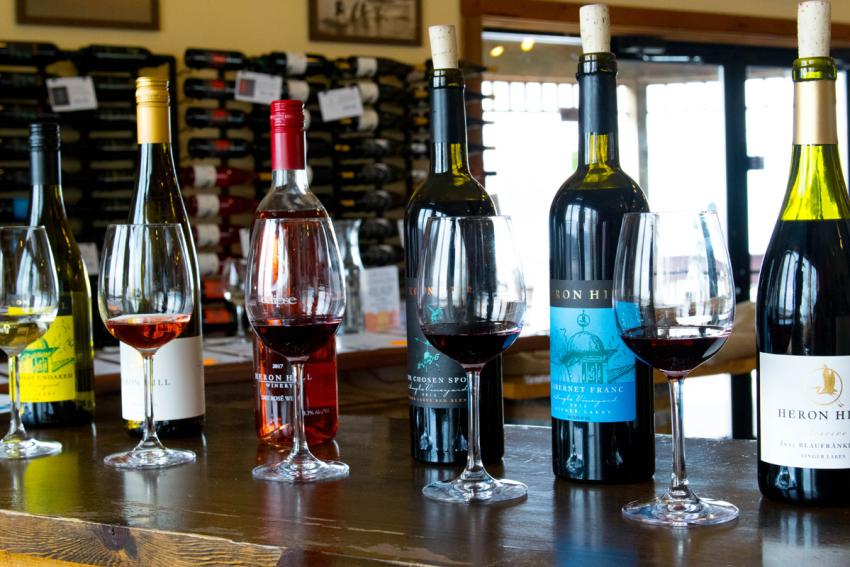 A flight of red wine at Heron Hill Winery