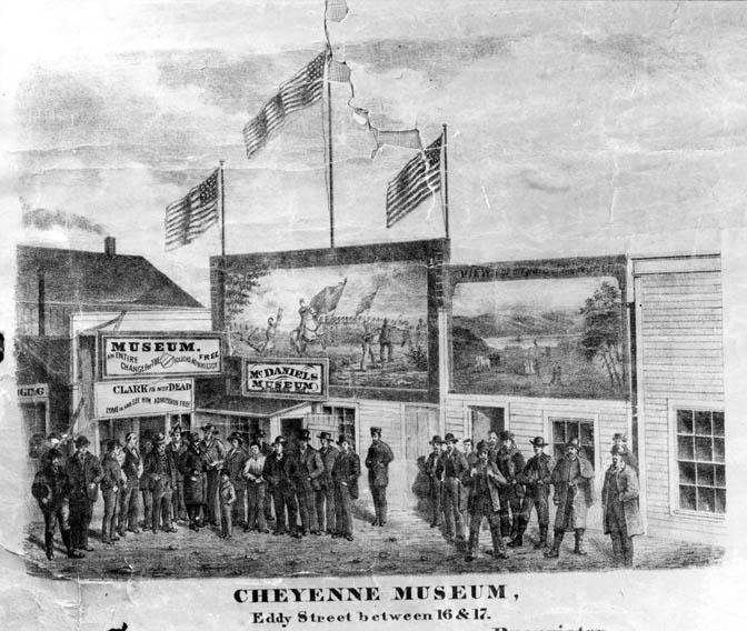 Illustration of the exterior of McDaniel's Museum in Cheyenne, Wyoming