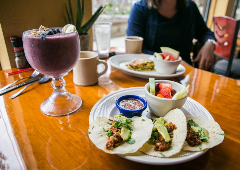 A smoothie bowl, tacos, and quiche from Bedrak Cafe