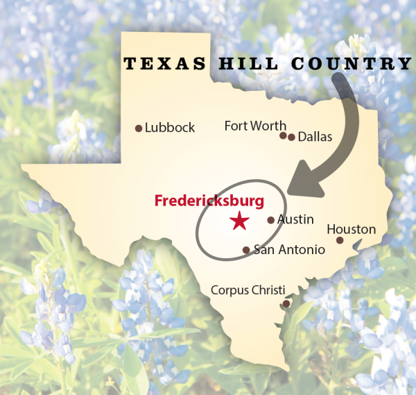 Map Showing Location of Fredericksburg in the Texas Hill Country Region