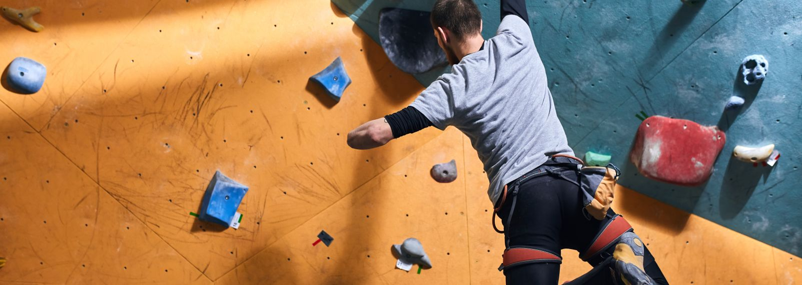 Adaptive climbing at Triangle Rock Club