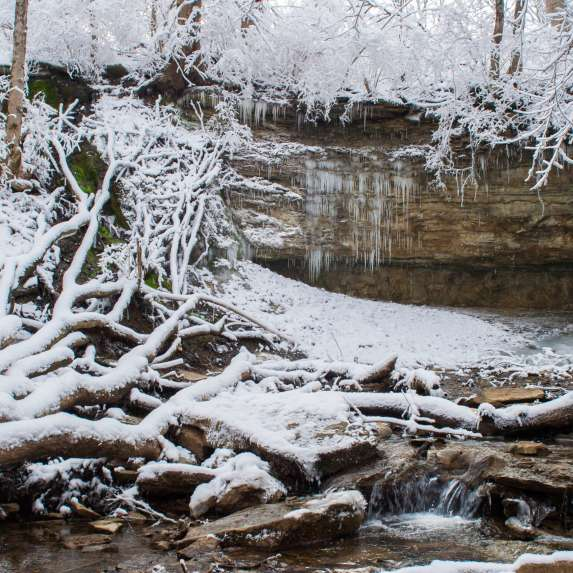Water and Snow In Lower Cascades Park In Bloomington