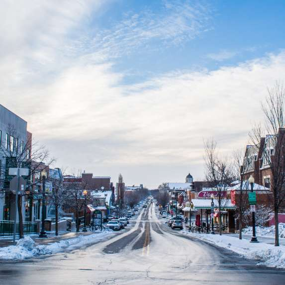 Downtown Bloomington streets with snow
