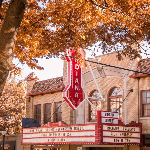 Exterior of the Buskirk-Chumley Theater during the fall season