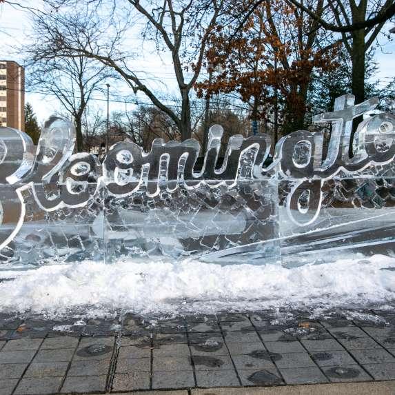 Bloomington font sculpture at Freezefest
