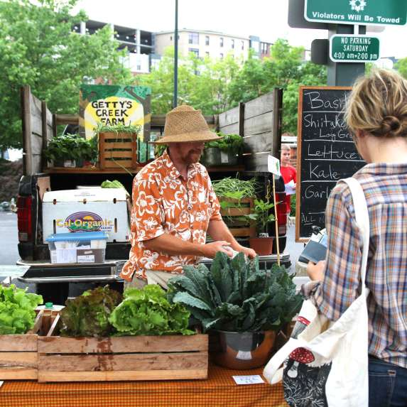 Greens vendor at the Bloomington Community Farmers' Market