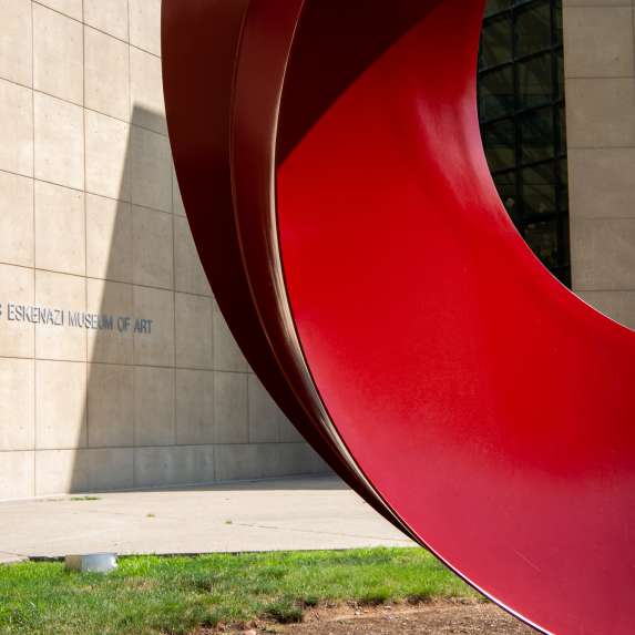 Red sculpture outside the Eskenazi Museum of Art at Indiana University Bloomington