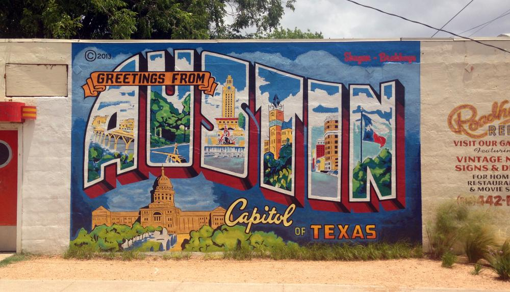 'Greetings from Austin, Capitol of Texas' Mural at Roadhouse Relics