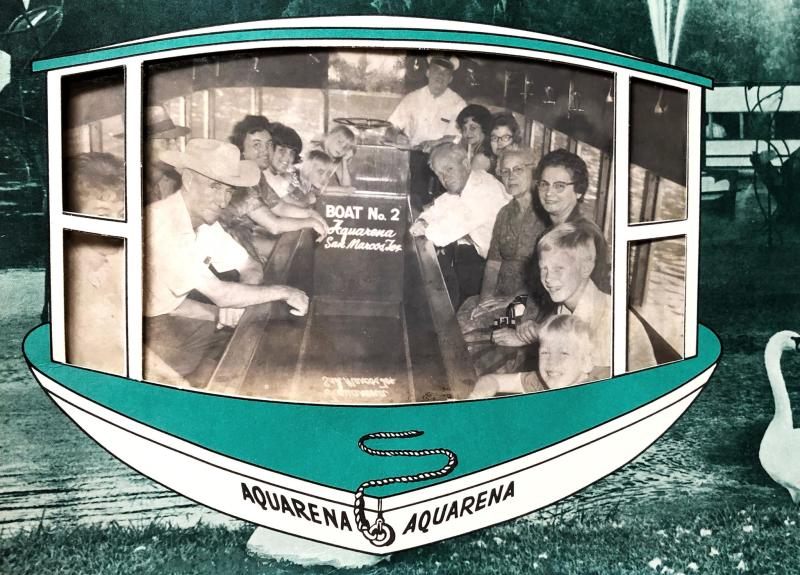 Group poses on a Glass-Bottom Boat Tour at Aquarena Springs in 1960-something.