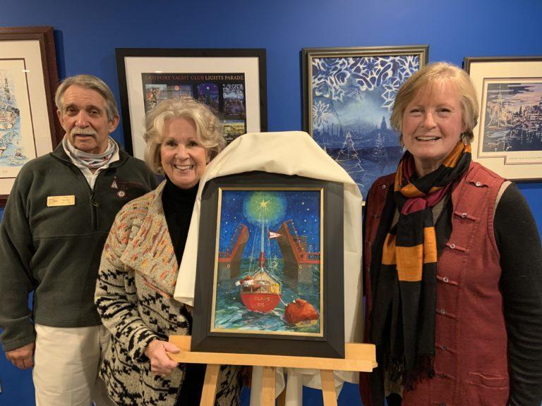 Tom & Trudy Stalder flank artist Rhonda Ford