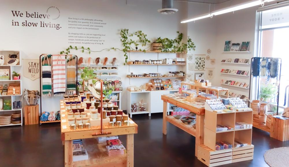 Slow North shop interior in Austin Texas with candles plants and other home goods