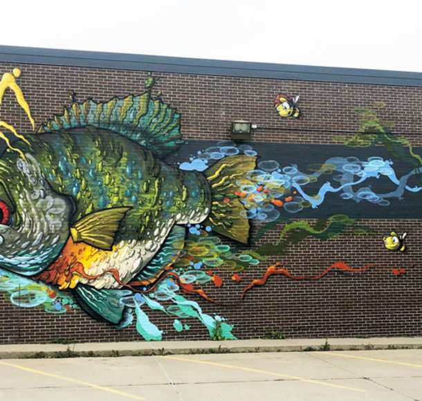 Colorful Fish outdoor wall mural in Overland Park
