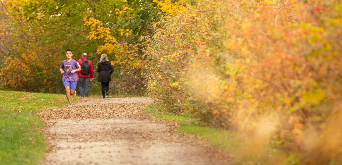 A man runs on the Lakeshore Path in fall