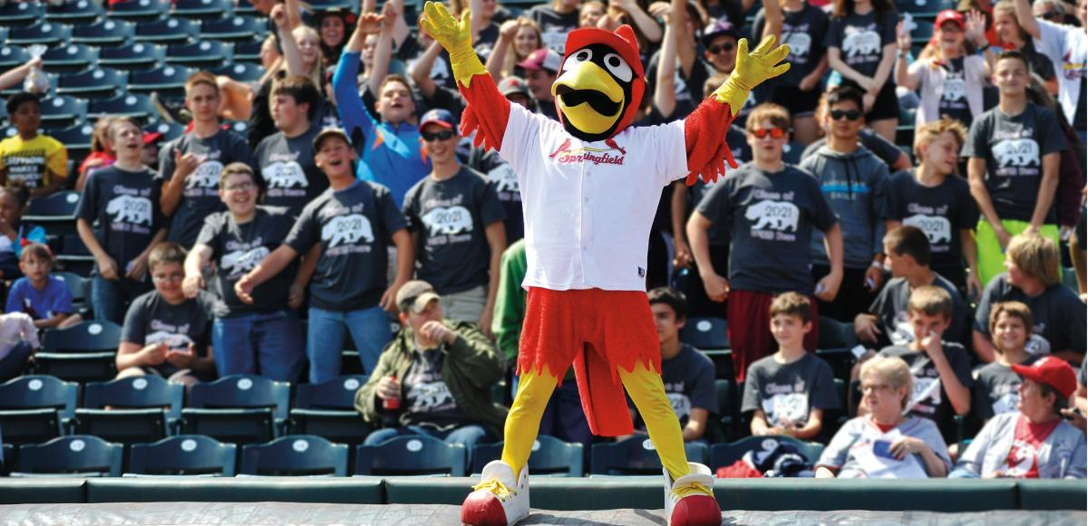 Mascot Louie entertains the crowd at Hammons Field in Springfield, Missouri.