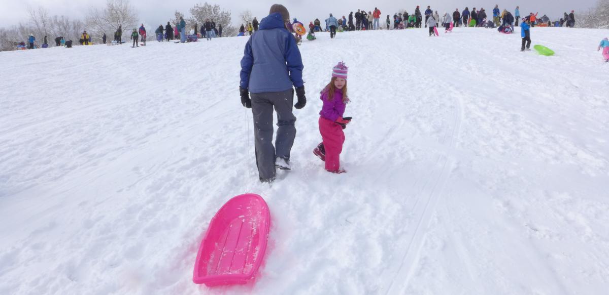 Families sledding at Scott Carpenter Park in Boulder