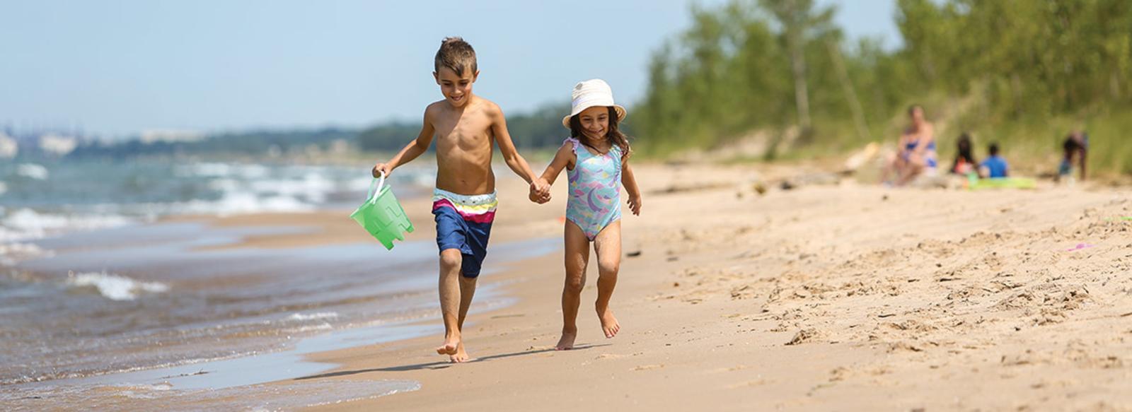Kids on Lake Street Beach in Miller