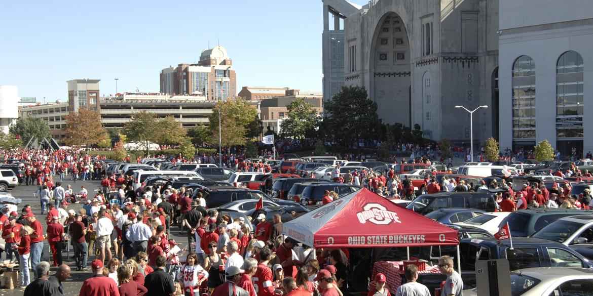 View of Ohio Stadium on a gameday in Columbus.