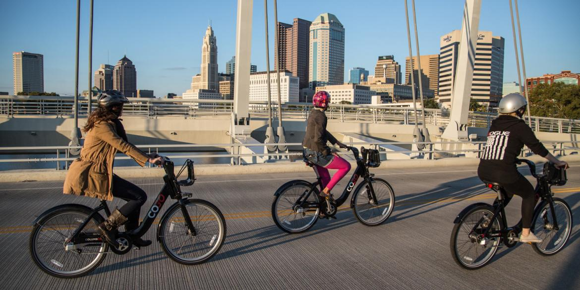 Women Riding Bikes in Columbus