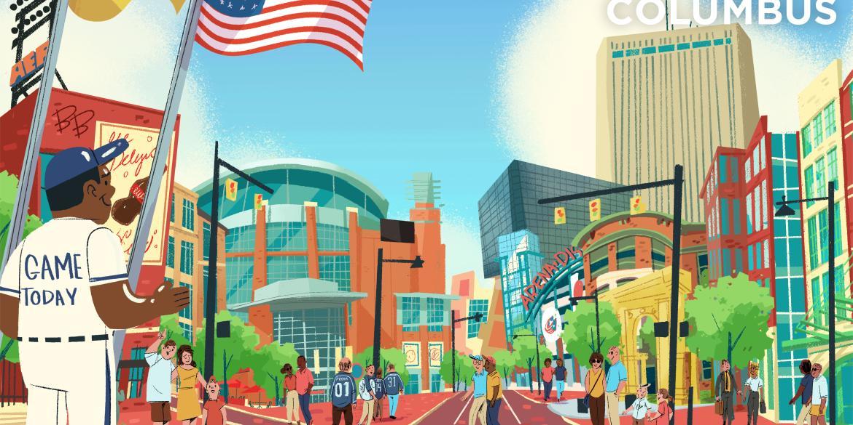 Arena District illustrated graphic