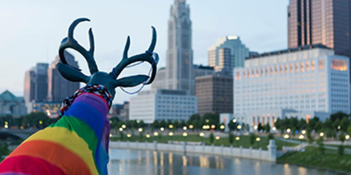 Sculpture Of A Deer In A Rainbow Sweater Looking At The City Of Columbus