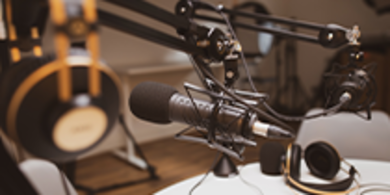 Studio microphone and headphones