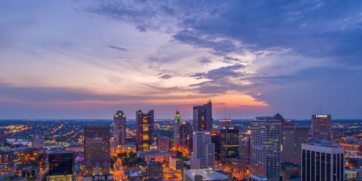 Downtown Columbus Skyline at sunset