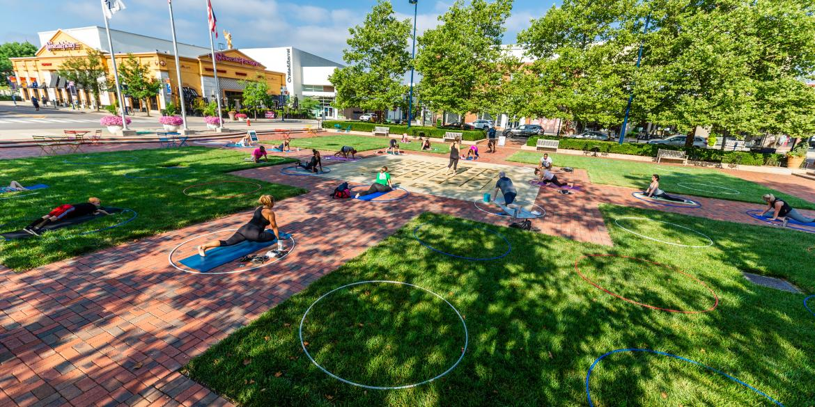 Easton Physically Distant Yoga on the Square