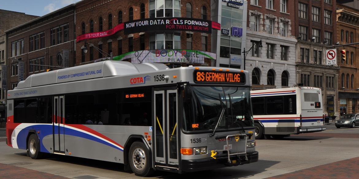 A Central Ohio Transit Authority bus in Columbus, OH