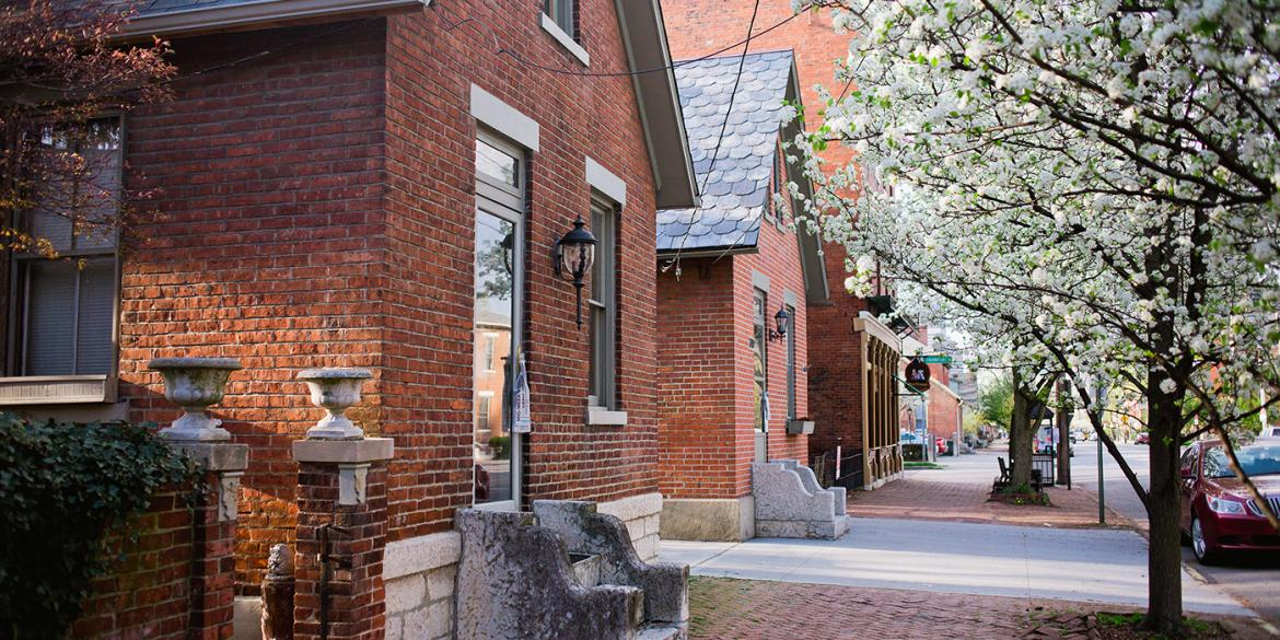 Row Of Brick Houses And Trees In German Village In Columbus