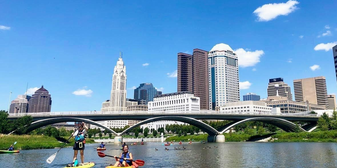 Kayak and paddle boarding on Scioto River