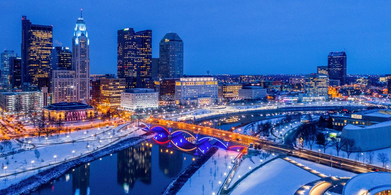 Columbus skyline in winter