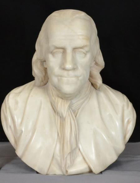 Bust of Benjamin Franklin in the Archives Room.