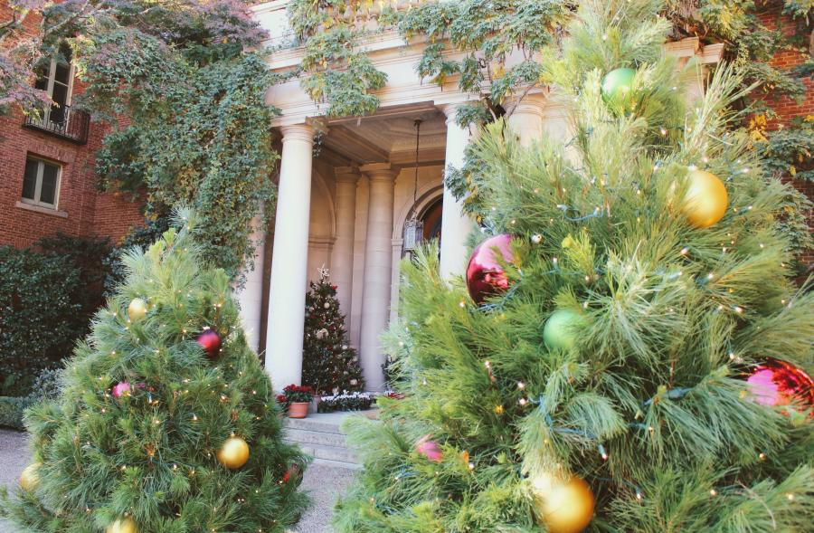 Christmas tree decorations outside the Filoli mansion during the Holidays at Filoli event