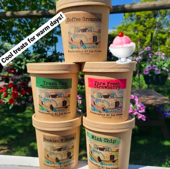 Pints of Ice Cream Stacked on Top of each other available at Terhune Orchards in Princeton, NJ.